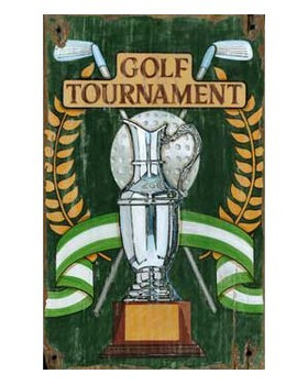 Custom Golf Tournament Trophy Vintage Style Wooden Sign