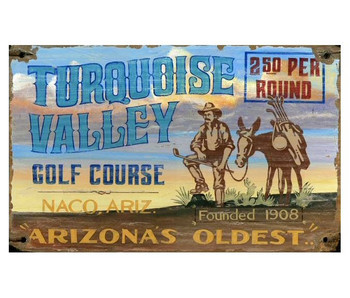 Custom Turquoise Valley Golfing Vintage Style Wooden Sign