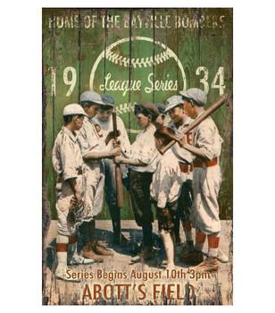 Custom Sandlot Baseball Vintage Style Wooden Sign