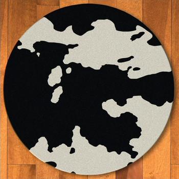 8' Black Cowhide Western Round Rug
