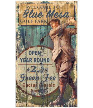 Custom Blue Mesa Golf Park Vintage Style Wooden Sign