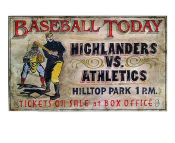 Custom Baseball Today Highlanders vs Athletics Vintage Style Wood Sign