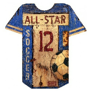 Custom Soccer Jersey Vintage Style Wooden Sign