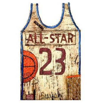 Custom Basketball Jersey Vintage Style Wooden Sign