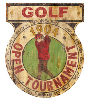 Custom Open Golf Tournament Vintage Style Wooden Sign
