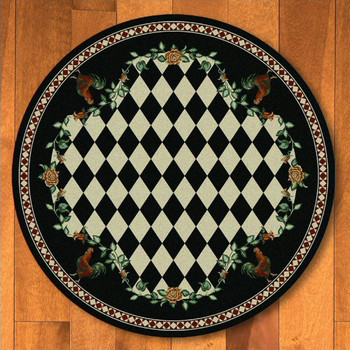 8' High Country Rooster Black Round Rug