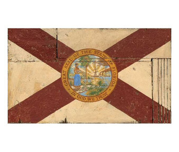 Custom Florida Flag Vintage Style Wooden Sign