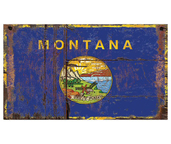 Custom Montana Flag Vintage Style Wooden Sign