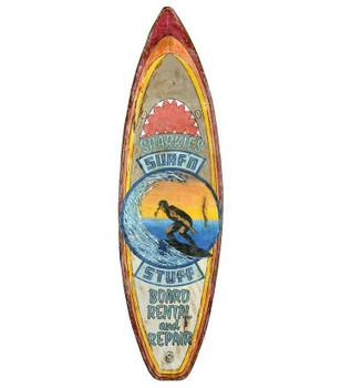 Custom Sharkies Surf n Stuff Surfboard Cutout Vintage Style Wood Sign