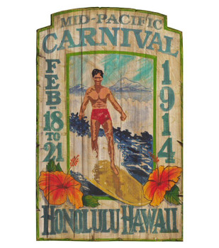 Custom Mid Pacific Carnival Vintage Style Wooden Sign