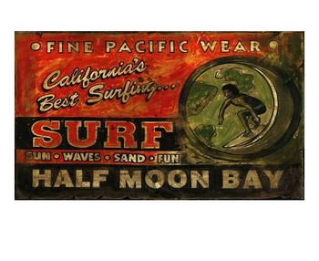 Custom Surf Shop Vintage Style Wooden Sign