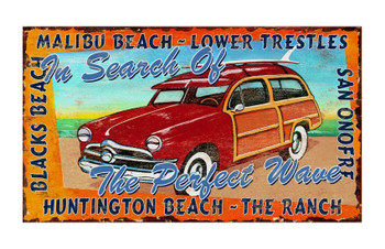 Custom California Surfing Vintage Style Wooden Sign