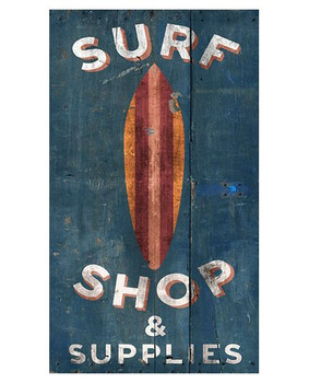 Custom Surf Shop & Supplies Surfboard Vintage Style Wooden Sign