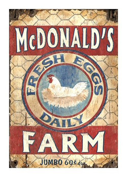 Custom McDonald's Egg Farm Vintage Style Wooden Sign