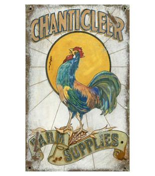 Custom Chanticleer Rooster Farm Supplies Vintage Style Wooden Sign