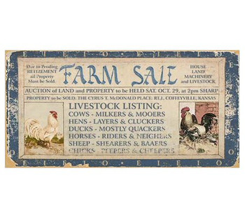 Custom Farm Sale Vintage Style Wooden Sign