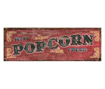 Custom Red Hot Fresh Popcorn Vintage Style Wooden Sign