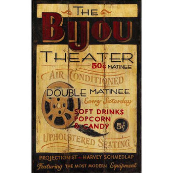 Custom The Bijou Theater Vintage Style Wooden Sign