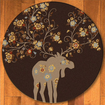 8' Abstract Moose Blossom Chocolate Wildlife Round Rug