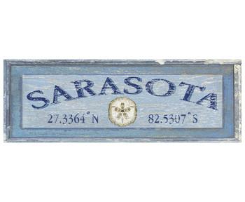 Custom Sarasota Latitude Vintage Style Wooden Sign