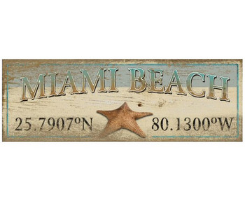 Custom Miami Beach with Starfish Latitude Vintage Style Wooden Sign