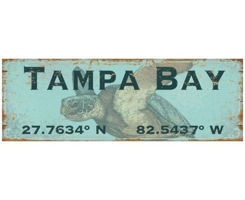 Custom Tampa Bay Sea Turtle Latitude Vintage Style Wooden Sign