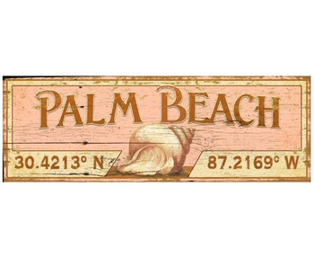 Custom Palm Beach with Seashell Latitude Vintage Style Wooden Sign
