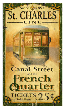 Custom St. Charles Street Car Vintage Style Wooden Sign