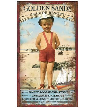 Custom Golden Sands Seaside Resort Vintage Style Wooden Sign