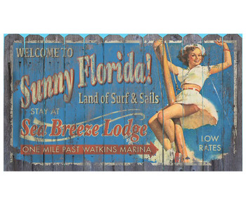 Custom Sunny Florida Vintage Style Wooden Sign