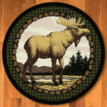 8' Majestic Moose Green Wildlife Round Rug