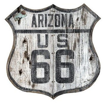 Custom Arizona Route 66 Cutout Vintage Style Wooden Sign