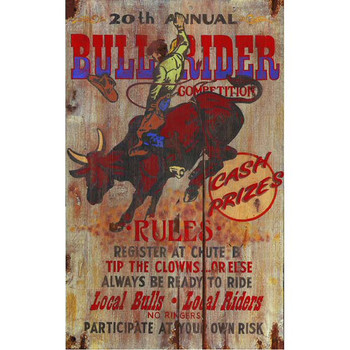 Custom Bull Rider Competition Vintage Style Wooden Sign
