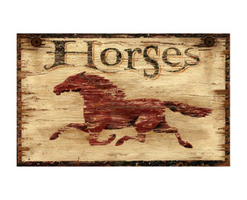 Custom Horses Vintage Style Wooden Sign
