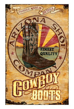 Custom Arizona Cowboy Boots Vintage Style Wooden Sign