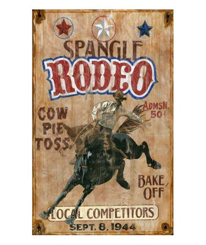 Custom Spangle Rodeo Vintage Style Wooden Sign