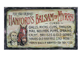 Custom Hanfords Balsam of Myrrh Vintage Style Wooden Sign