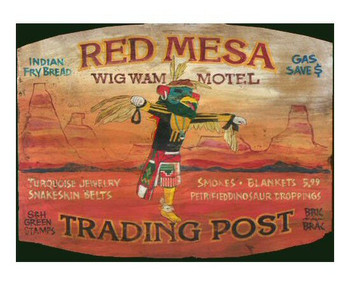 Custom Red Mesa Wig Wam Motel Vintage Style Wooden Sign