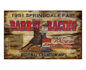 Custom Springdale Fair Barrel Racing Vintage Style Wooden Sign