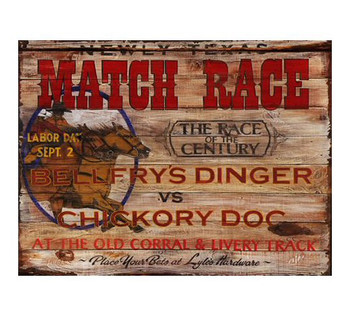 Custom Newly Texas Match Race Vintage Style Wooden Sign