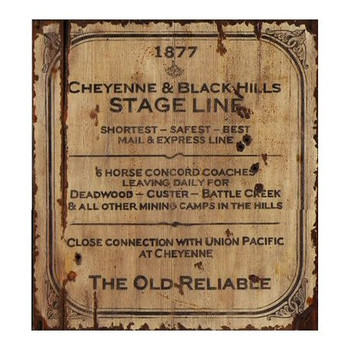 Custom Cheyenne and Black Hills Stage Line Vintage Style Wooden Sign