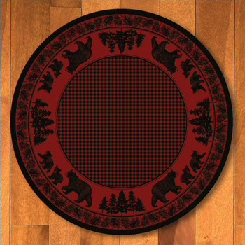 8' Bear Family Red Wildlife Round Rug