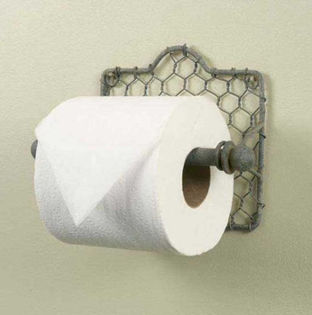 Barn Roof Chicken Wire Toilet Paper Holders, Set of 2