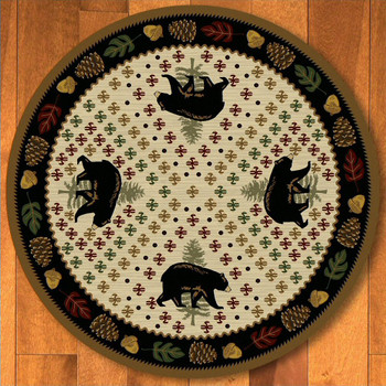 8' Patchwork Bear and Pinecones Natural Wildlife Round Rug