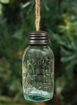 "3.5"" Hanging Mason Jar Glass Christmas Tree Ornaments, Set of 4"