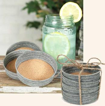 Barn Roof Mason Jar Lid Coasters, Set of 8