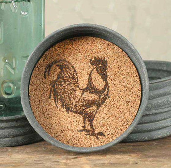 Barn Roof Rooster Mason Jar Lid Coasters, Set of 8