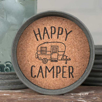 Barn Roof Happy Camper Mason Jar Lid Coasters, Set of 8