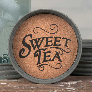 Barn Roof Sweet Tea Mason Jar Lid Coasters, Set of 8