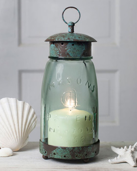 Quart Mason Jar Glass and Metal Pillar Candle Lantern